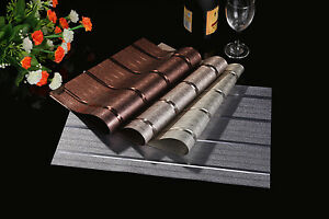 Waterproof! Up to SET 6 x Dining Table Placemat PVC Mat Insulation Tableware 4x