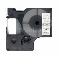 """1pk Black on White Label Tape Compatible for DYMO 43613 D1 6mm 1/4"""""""