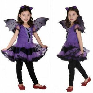 Toddler Kids Baby Girls Halloween Costume Dress+Hair Hoop+Bat Wing Outfits Sets.