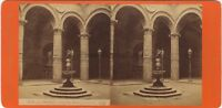 Florence Firenze Palazzo Vecchio Italia Foto Stereo Vintage Albumina