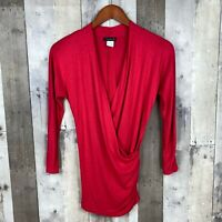 Venus Womens Size XS Knit Top Wrap Front Surplice Red 3/4 Sleeve Ruched Stretch