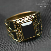 Men's Fashion Gold Silver Stainless Steel Black Gemstone Onyx Ring Size 7-15