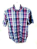 Nautica Jeans Co Mens XL Short Sleeve Button Front MultiColor Plaid Shirt