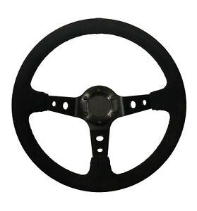 """13"""" Steering Wheel Black Suede/Spars No Tab 3""""  Deep Dish Oval STR"""