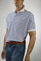 Ralph Lauren Classic Fit Striped Interlock White & Blue  Polo Shirt/ Pony -NWT