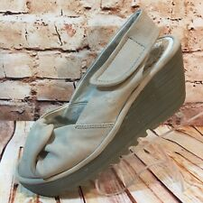 FLY London Leather Yakin Womens Size US 6.5 - 7 EU 37 Peep Toe Wedge Sandal Shoe