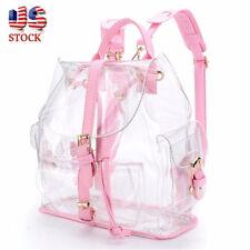 US Women Clear Transparent Backpack School Shoulder Bag Satchel Rucksack  HandBag c50702384636f