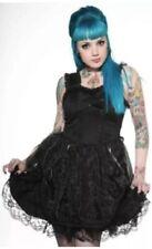New Goth Punk Lolita Living Dead Souls Black Gothic Lolita Bow Lace Up Dress L