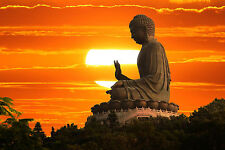 Framed Print - Buddhist Monument at Sunset (Picture Poster Oriental Buddha Art)