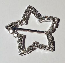 10 Silver Grade A Clear Rhinestone Xmas Star Buckles Christmas 15mm Bar M0209