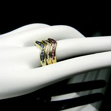 DIAMOND STACKABLE RINGS IN RED-WHITE & BLUE Genuiune precious, in 14K GOLD