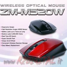 MOUSE GAMING ZALMAN WIRELESS COMPUTER NOTEBOOK GIOCO SENZA FILI LASER USB LED