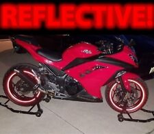 RED REFLECTIVE MOTORCYCLE CAR RIM STRIPES WHEEL DECAL TAPE STICKER 21/18 INCH