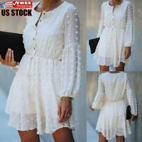 Women's Solid Casual Lace Skater Dress Ladies Long Sleeve Party Mini Dresses