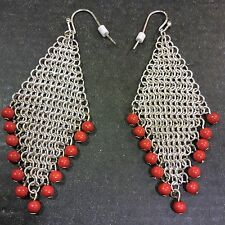 PIERCED Dangle EARRINGS Silver Tone Mesh Orange Bead Modern Southwestern Diamond