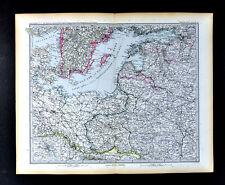 1892 Petermann Map Baltic Sea Germany Sweden Poland Warsaw Danzig Russia Estonia