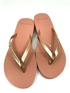 Tory Burch NEW Rose Gold Metallic Leather Flip Flops Sandal Size 6  $98