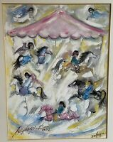 "DeGrazia ""Joy and Music In The Air. Joy and Music Everywhere!"" SIGNED '72 Framed"