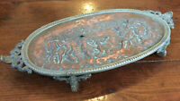 Antique Copper Embossed Tray Plate Brass Frame & Ornate Feet Detailed Classical
