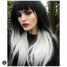 Sexy Womens Long Straight Hair Wigs Black White Silver Ombre Cosplay Wig Hair