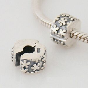 FLOWER BURST BOUQUET clip -Hinged stopper - Solid 925 sterling silver charm bead