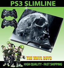 PLAYSTATION PS3 SLIM STICKER SMOKEY SKULL DARK ART GOTHIC BONES SKIN & PAD SKINS