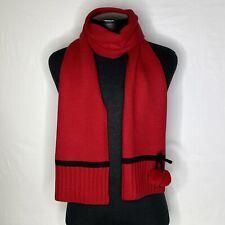 Kate Spade New York Pom Pom Bow Knit Scarf Red/Black NWT
