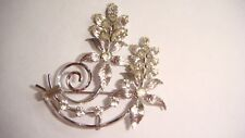 VINTAGE SIGNED KREMENTZ SILVER TONE PIN BROOCH PENDANT WITH RHINESTONES ESTATE