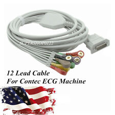 USA 12-lead one-piece ECG Cable For CONTEC ECG machine Electrocardiograph, snap