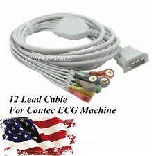USA 12-lead one-piece ECG Cable For CONTEC ECG machine Electrocardiograph, snap