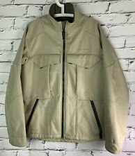 Columbia Mens Titanium Coat Jacket Size Medium OMNI TECH Tan Lined Pockets FLAW