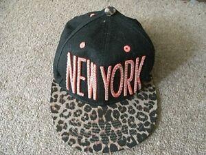 GIRLS BLACK AND SEQUIN NEW YORK BASEBALL HAT SIZE JUNIOR