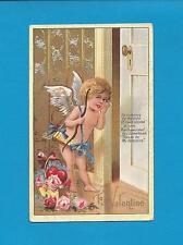 "CUPID Delivers ROSES On Beautiful Vintage 1909 ""Winsch-Back"" VALENTINE Postcard"