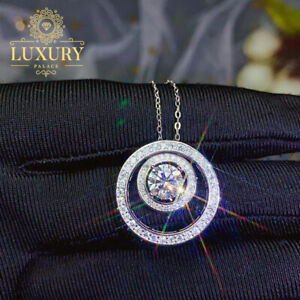 1Ct Moissanite 925 Sterling Silver Circles Pendant Necklace White Gold Finish