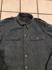 Vtg 50s 60s Swiss Military Prison Inmate Denim Jean French Work Wear Jacket