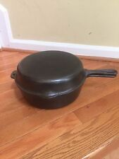 #8 Griswold Hinged DEEP Double skillet Small Logo 1102B & Match 80 LID 1103A