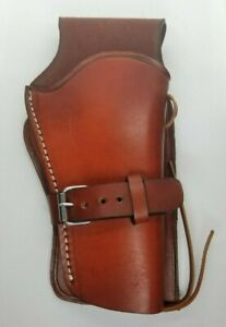 Western Style Revolver Holster Right H Genuine Leather Hand Made Open Bottom HL1