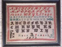 Antique 1873 Large Sampler ABC Numbers And Gothic letters Austrian Needlework