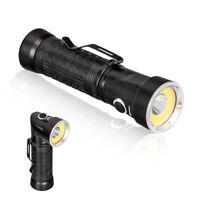 LED Flashlight 18650 T6+COB 90 Degree Fold Multifunction Torch Light Magnet Wv