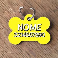 Medaglietta PERSONALIZZATA cane forma di osso NOME NUMERO TELEFONO giallo