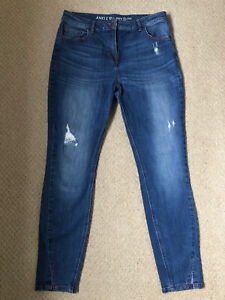 Ladies Next Ankle Skinny Distressed Jeans Size 14L