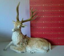 """Fitz and Floyd Christmas Forest Frost Reclining 13.5"""" Deer Figurine New w/ Box"""