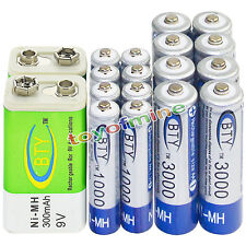 8xAA 3000mAh+8x AAA 1800mAh 1.2V NI-MH Rechargeable Battery+2x BTY 9v  300mAh