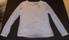 Women's CALVIN KLEIN White Lace Long Sleeve Jewel Neck Top Size S NWT $69