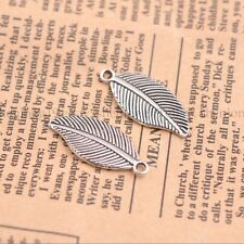 Silver Leaf Shape Tibetan Silver Charms Pendant Jewelry Findings 27.5X12MM E3144