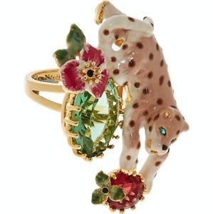 LES NÉRÉIDES  14ct Gold Plated Enamel Leopard Ring - £145