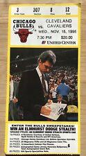 1995 Chicago Bulls Ticket Stub Nov. 15 Phil Jackson Michael Jordan Last Dance