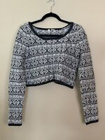 Anthropologie Moth White Gray Cropped Chunky Knit Boxy Sweater Small XL