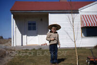 1950s Kodachrome Red Border Slide Boy with Cowboy Hat Gun and Red Wagon in Yard