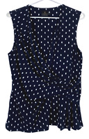 David Lawrence Womens Black/White Spotted Sleeveless Corporate Blouse Size M
